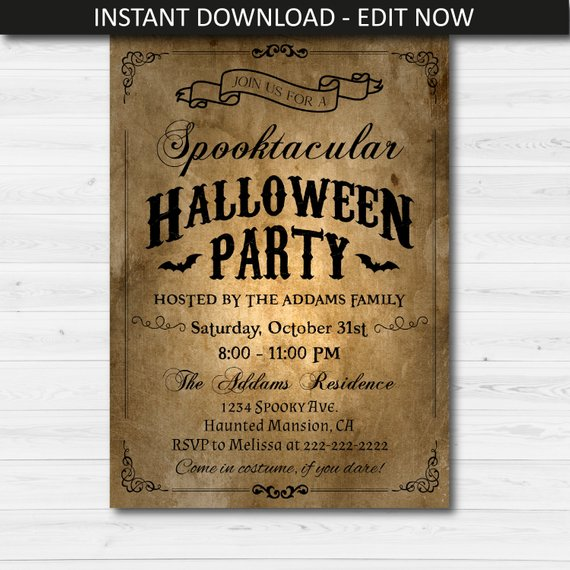 Rustic Halloween Party Invitation Template