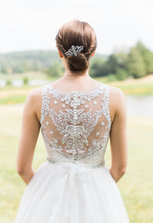 Twisted chignon, hair brooch, elegant // Carrie Coleman Photography