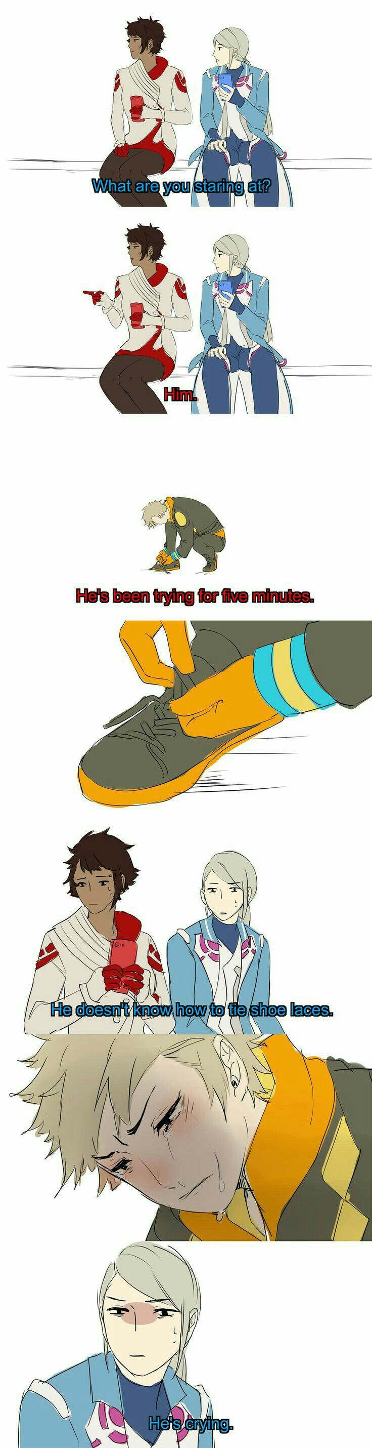 Sparks don't know how to tie shoe laces hahaha !   Pokemon ...