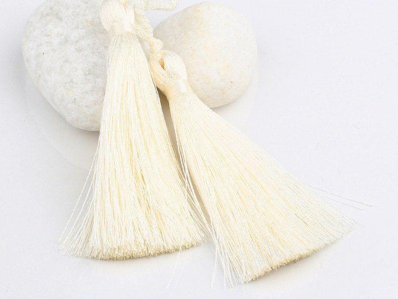 Ivory Silk Thread Tassels 2 Pieces Jewelry Supplies Tas 016
