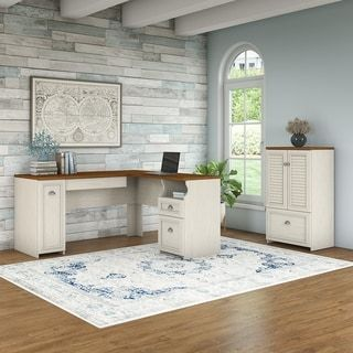 Bush Furniture Fairview 60W L Shaped Desk and Storage Cabinet with ...