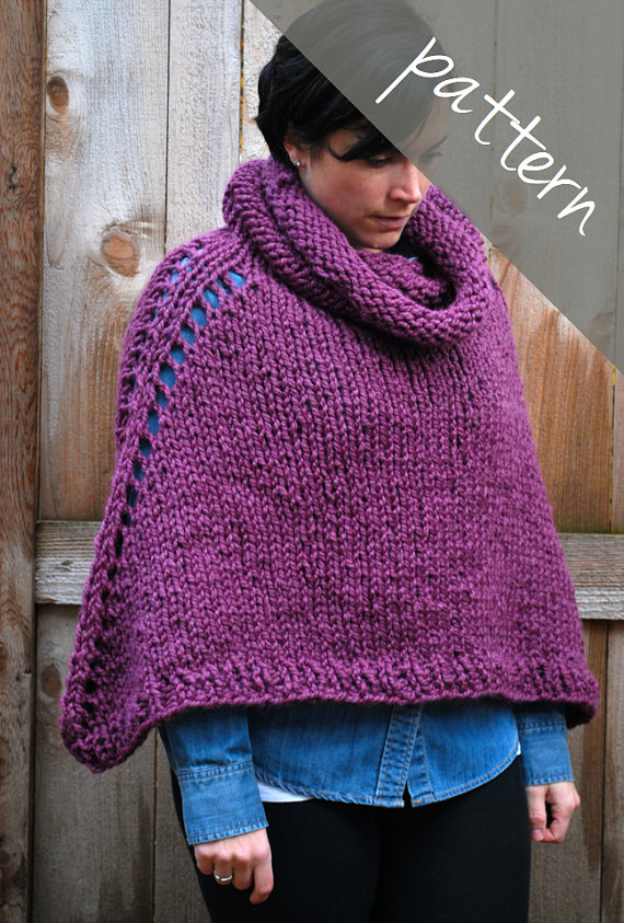 Knitting PATTERN - Oversized Poncho Cape - Chunky Cape - Easy ...