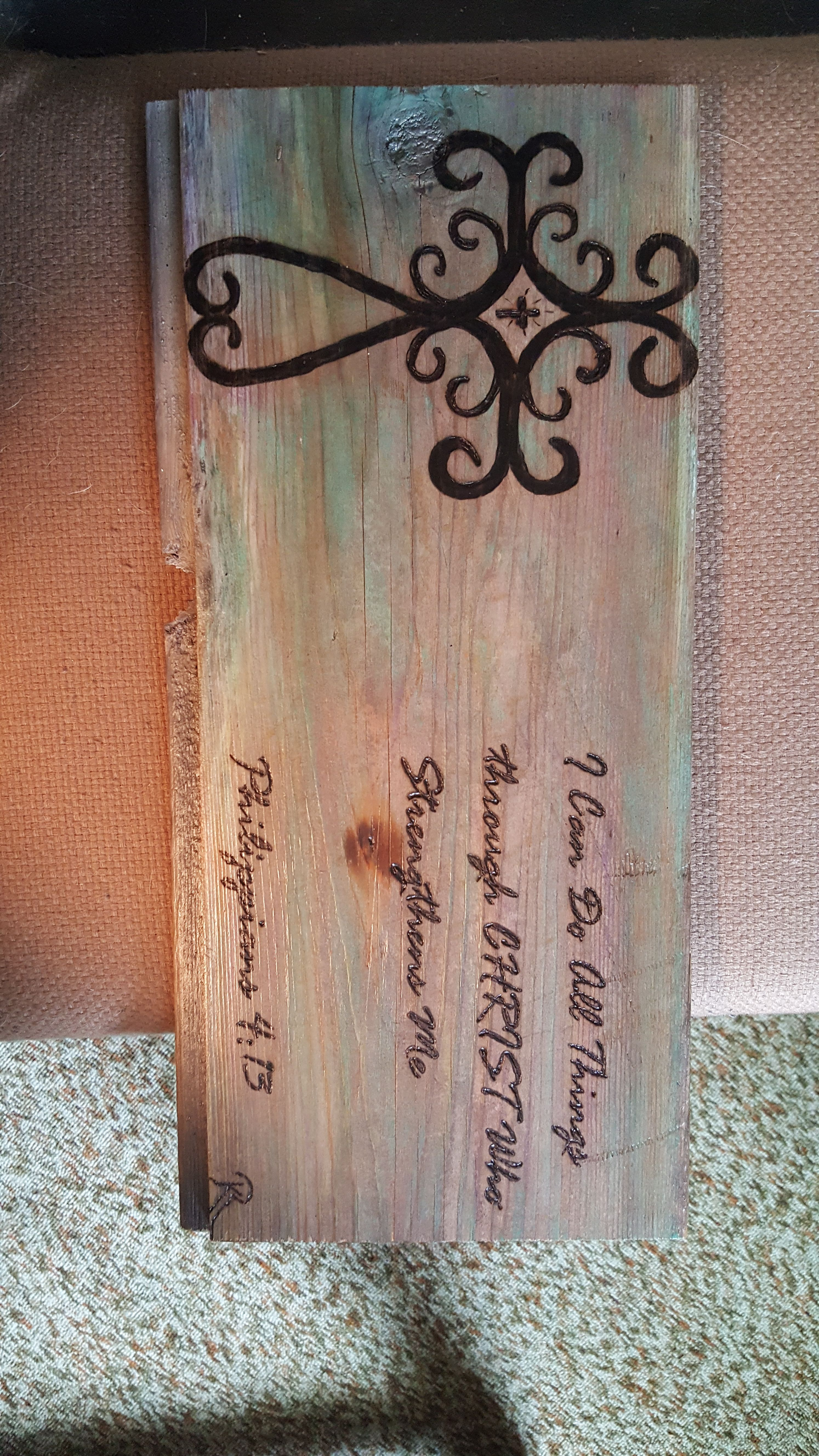 Wood burning: A piece of old barn siding, background colors done ...