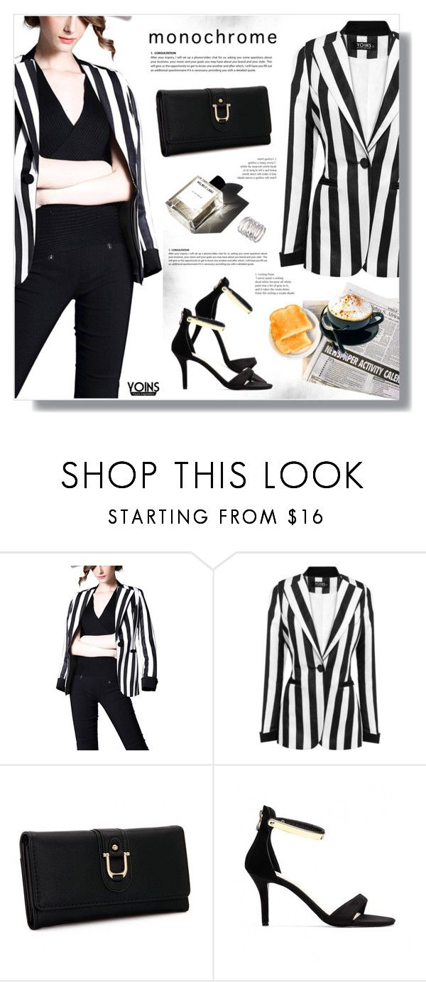 """""""Monochrome - Yoins"""" by yexyka ❤ liked on Polyvore featuring MELLOW YELLOW, monochrome, yoins and yoinscollection"""