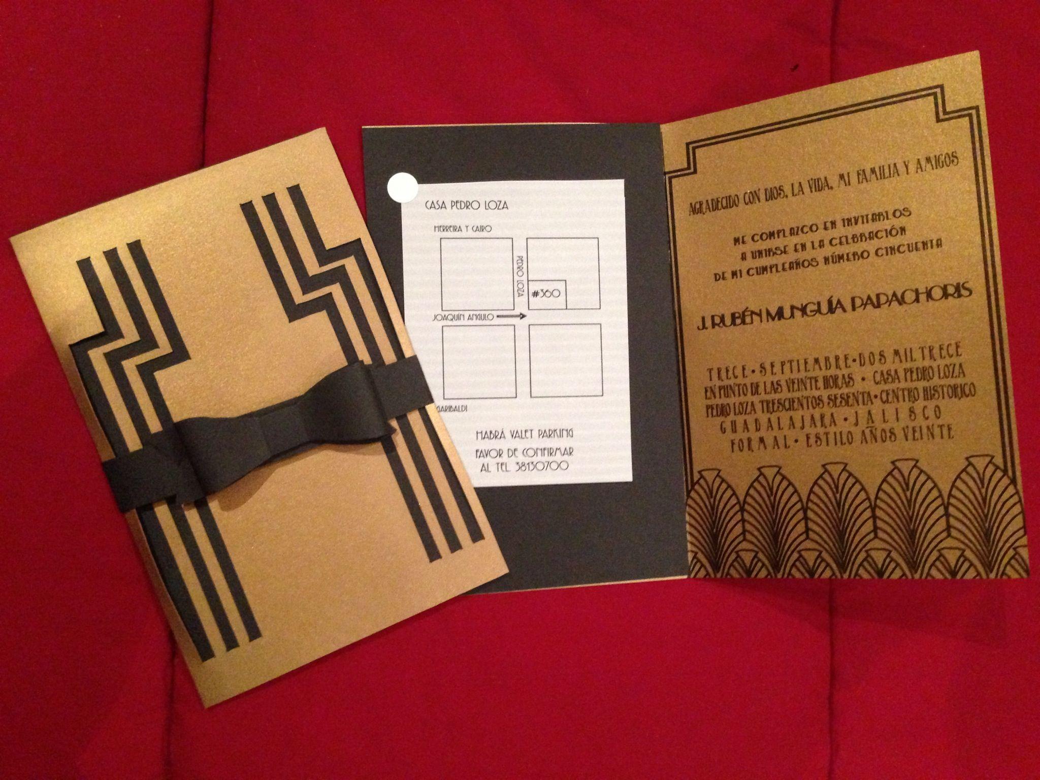 Gatsby inspired invitations. Roaring twenties 50\'s birthday theme ...