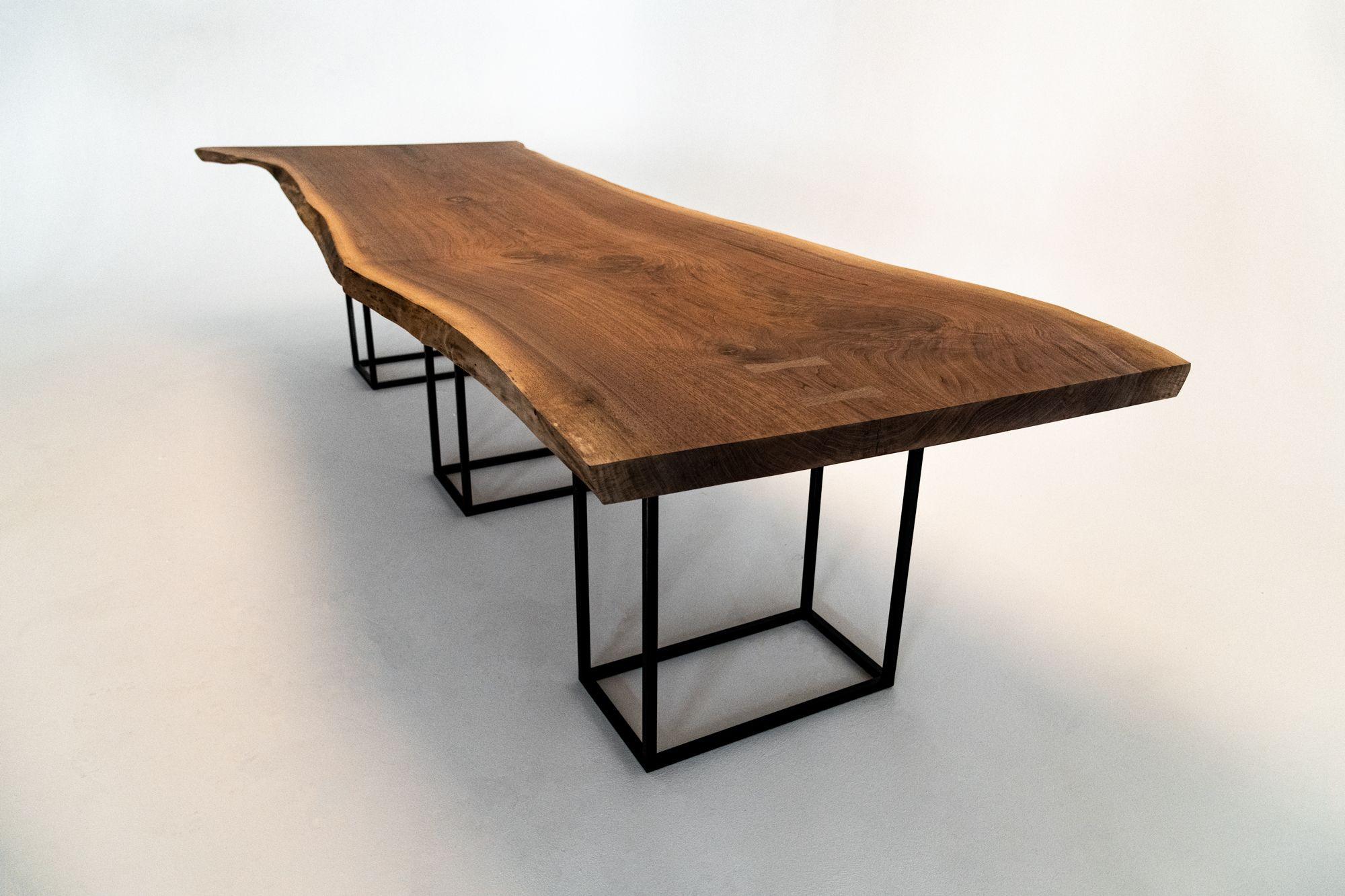 American Black Walnut Rare Single Slab Walnut Dining Table