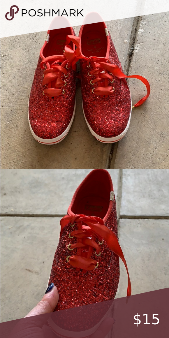 Kate Spade red sequin keds Red sequin