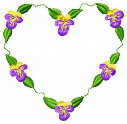 Pansy Heart Embroidery Design Instant Download by JEmbroiderynApplique