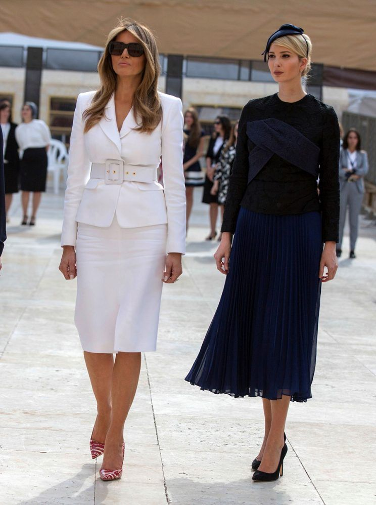 Melania Trump Slips Into an LBD After Rocking White Suit and Candy-Cane  Heels in