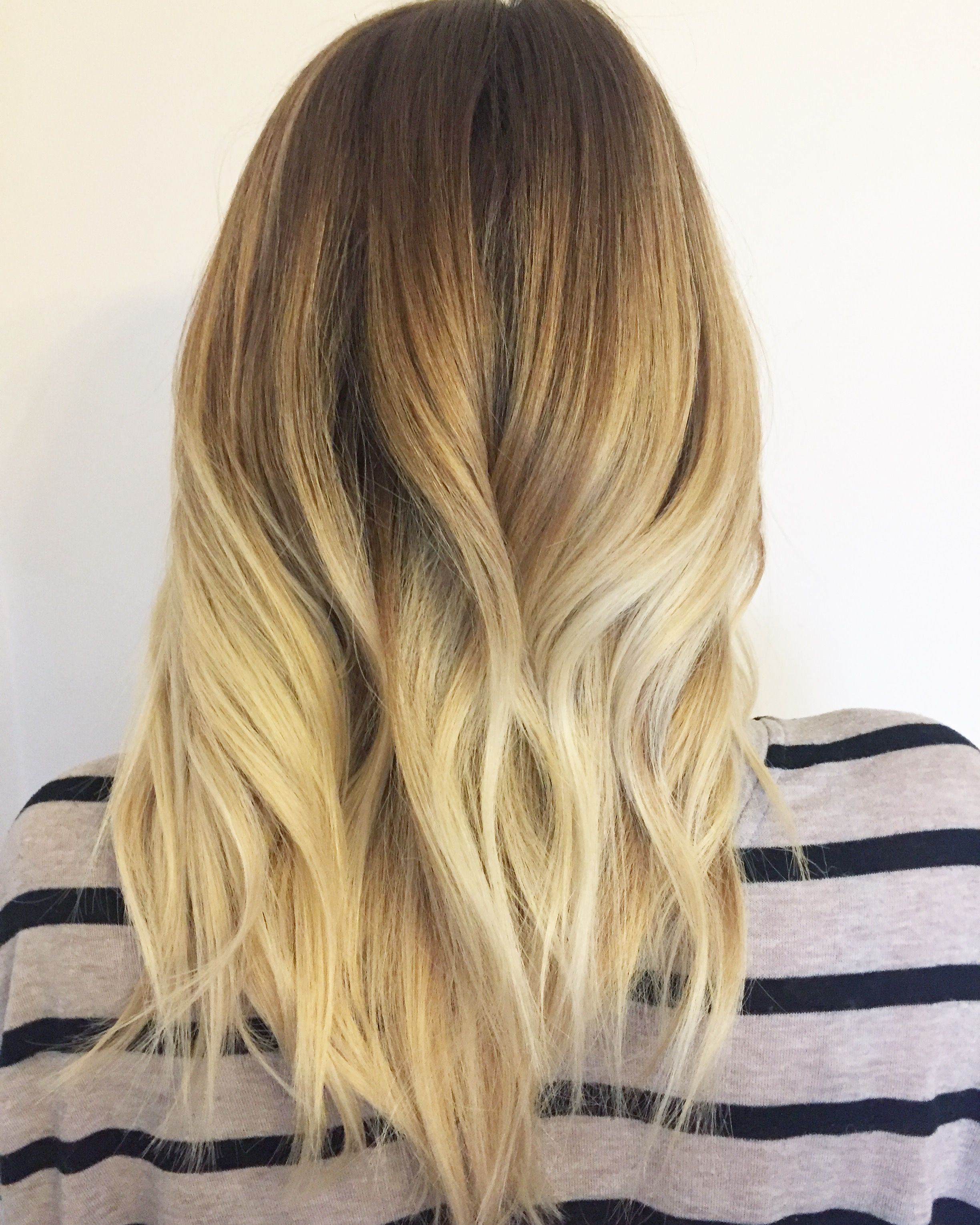 Solid golden blonde hair balayage that blends to beautiful