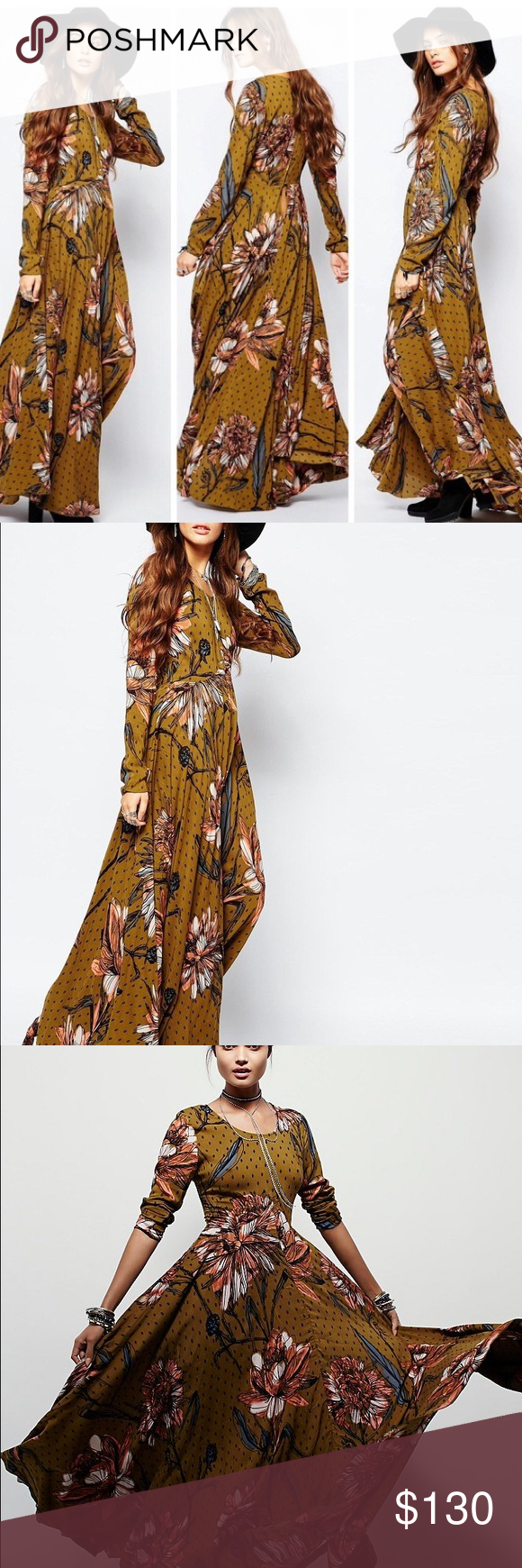 1c022046da7e free people first kiss floral maxi in goldenrod Stunning maxi floral dress  from free people with long sleeves. Purchased for a wedding but ended up  wearing ...