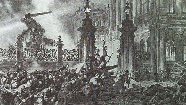 Storming the Winter palace on 25th October 1917 by Nikolai Kochergin ...
