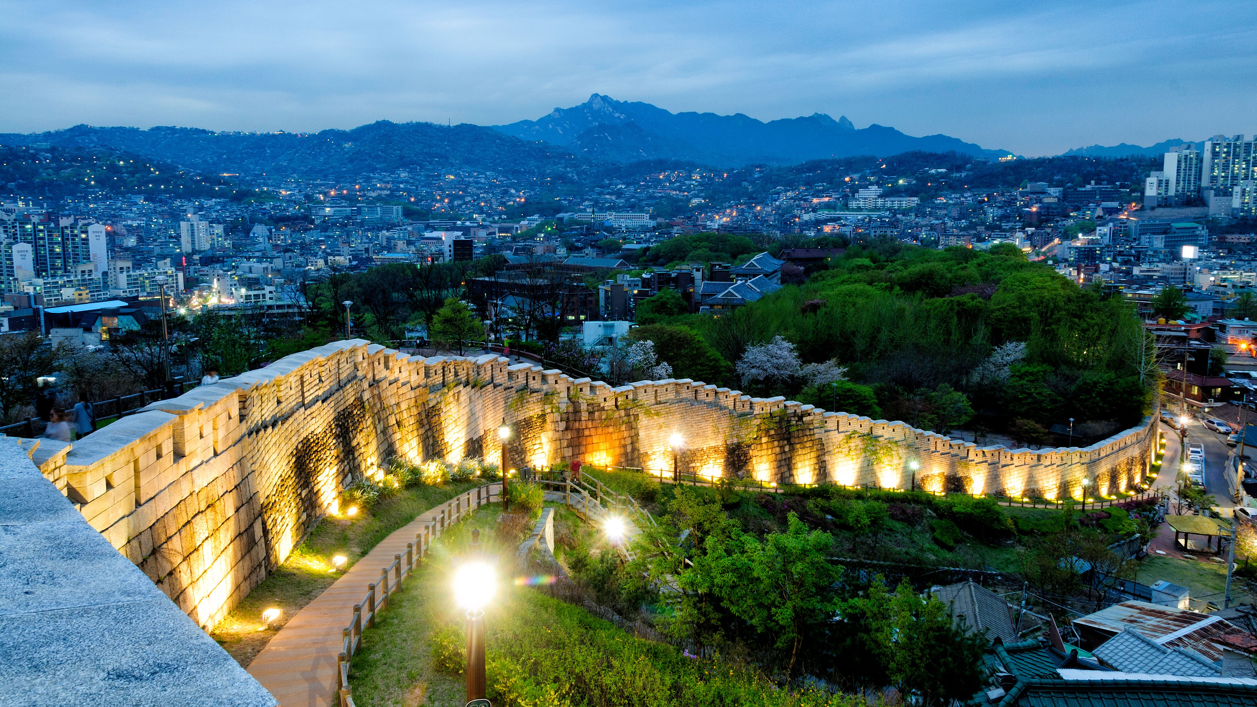 The old Fortress Wall of Seoul in Naksan Park Jongno District Seoul South Korea [42882412] | South korea travel, Fortress wall, City