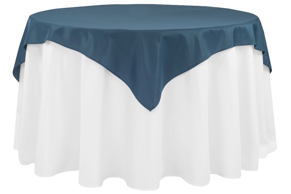 Economy Polyester Table Overlay Topper Tablecloth 54 X54 Square Navy Blue With Images Table Overlays Blue Tablecloth Dusty Blue