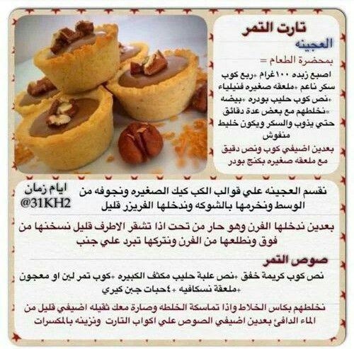 تارت التمر Sweets Recipes Arabic Sweets Recipes Desserts