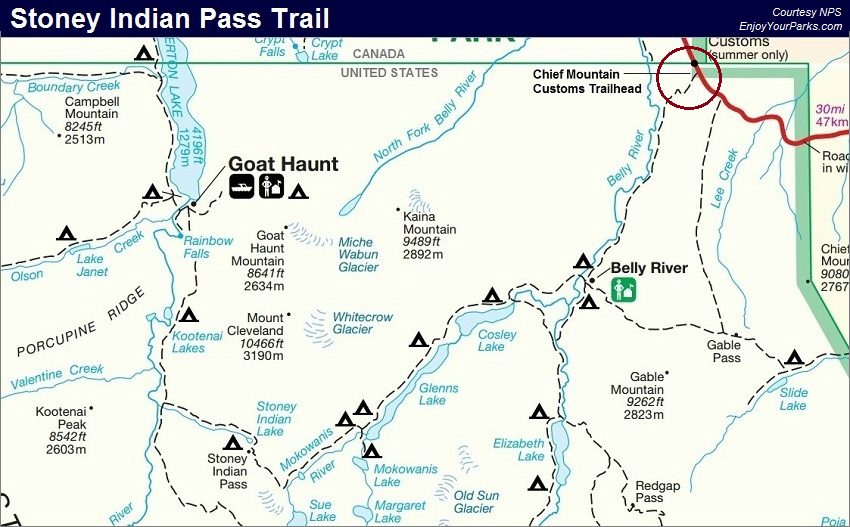 Stoney Indian Pass Trail Map, Glacier National Park Map | Hiking ...