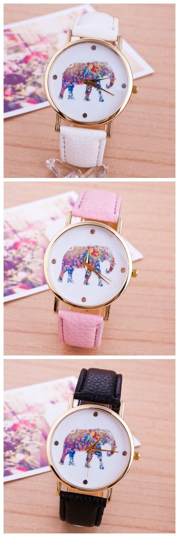 2015 Women National Wind Elephant Casual Leather Strap Quartz Wrist Watch