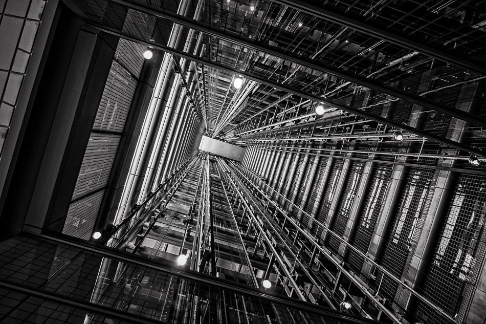 The open space between two elevator shafts at Chicago's 300 East Randolph resembles a futuristic tunnel.