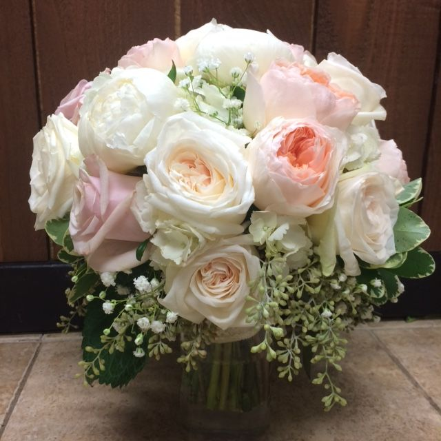 bridal bouquet with peonies garden roses roses hydrangea babys breath seeded