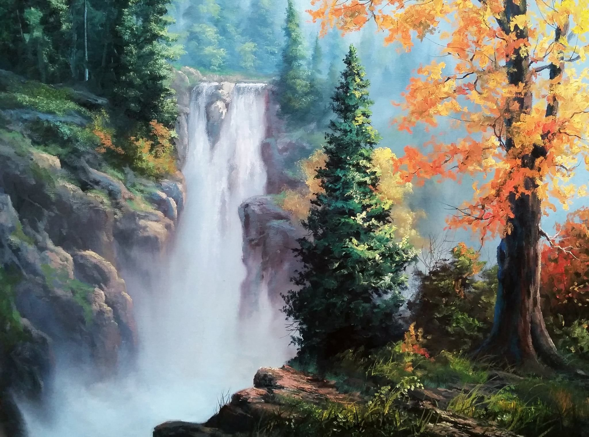 Rushing waterfall by kevin hill check out my youtube for Oil or acrylic