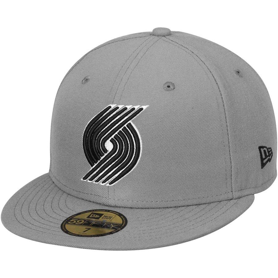 new release buy popular best prices Mens Portland Trail Blazers New Era Gray/Black 59FIFTY Fitted Hat ...