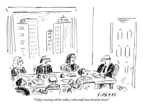 A Ceo Talks To His Board During A Board Meeting by David Sipress ...