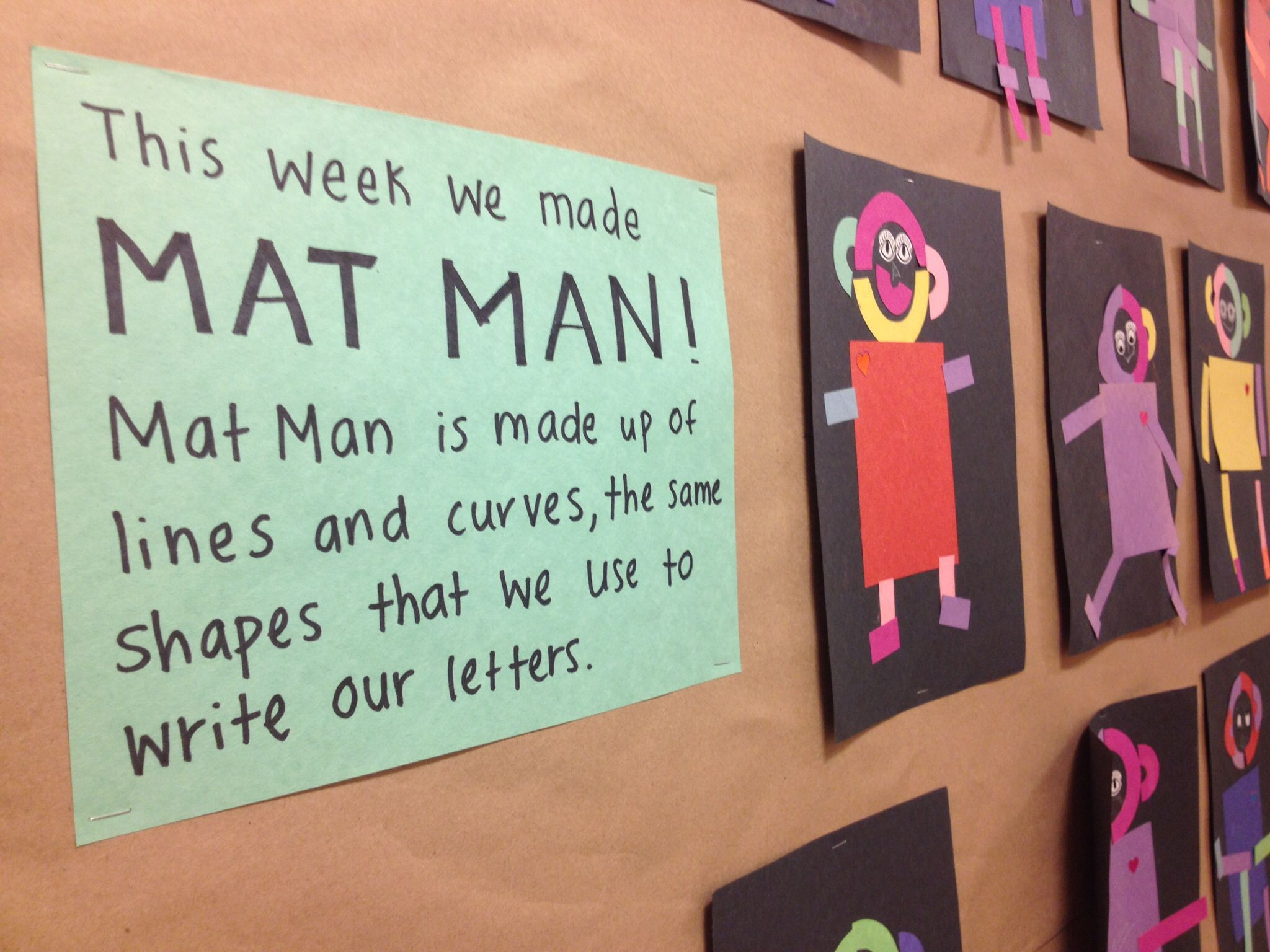 Mat Man art with construction paper pieces. Nice bulletin board ...