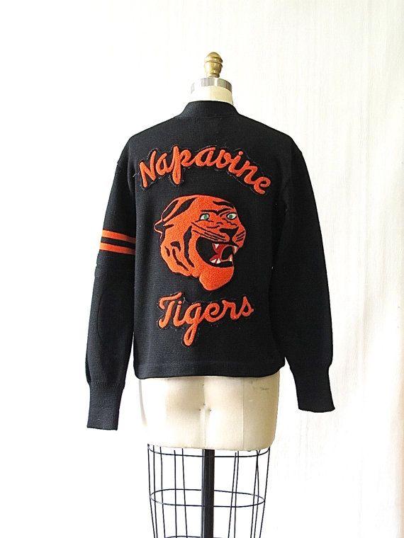 GO TIGER Vintage 60s Sweater   1950s 1960s Napavine Tigers Black Letterman Block Sweater by Skookum   Rockabilly…