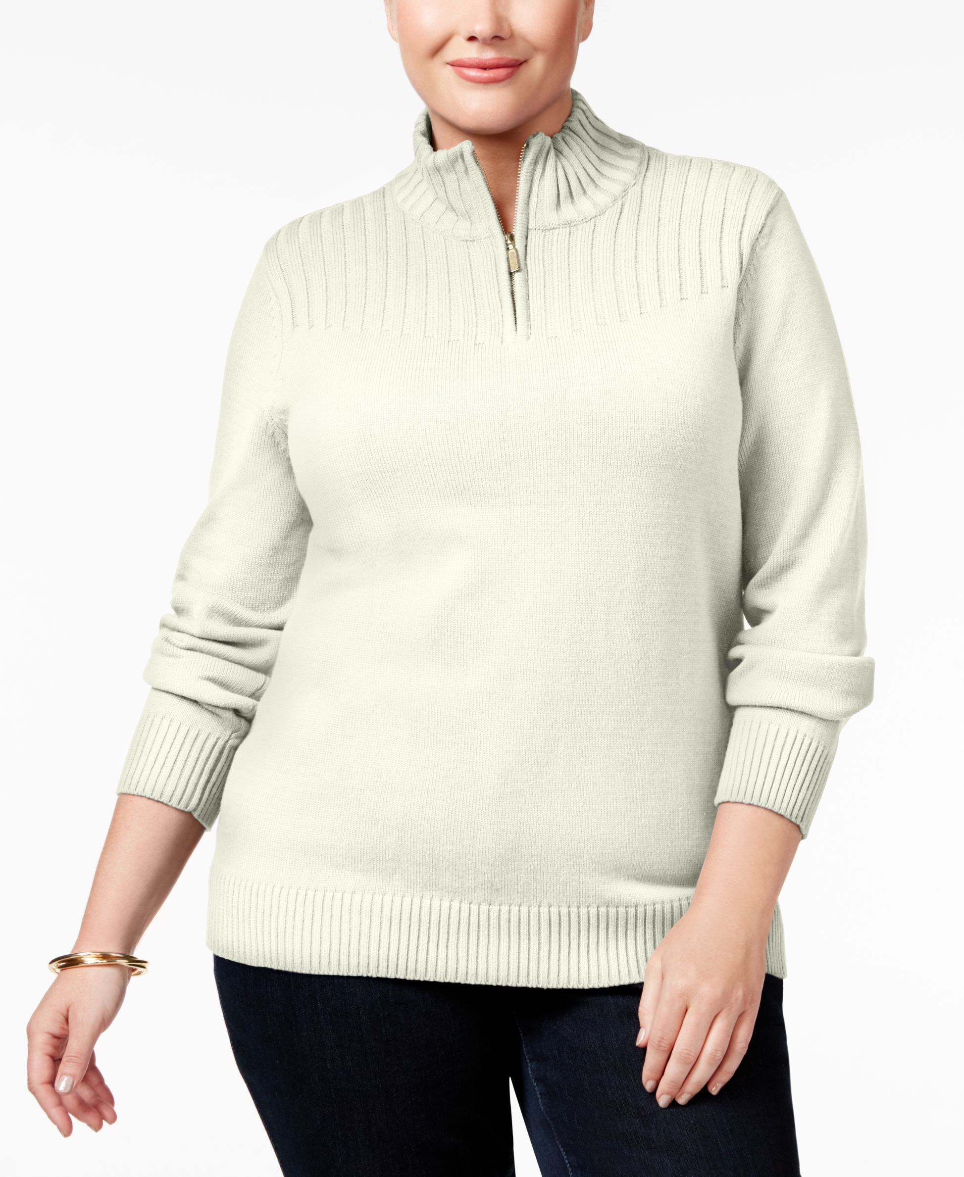 Karen Scott Plus Size Ribbed Mock-Turtleneck Sweater, Only at ...