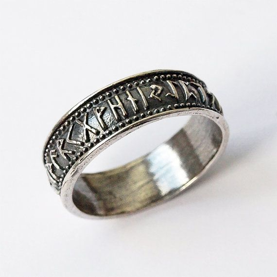 Silver Ring With Elder Futhark Runes, Size 5,5 US