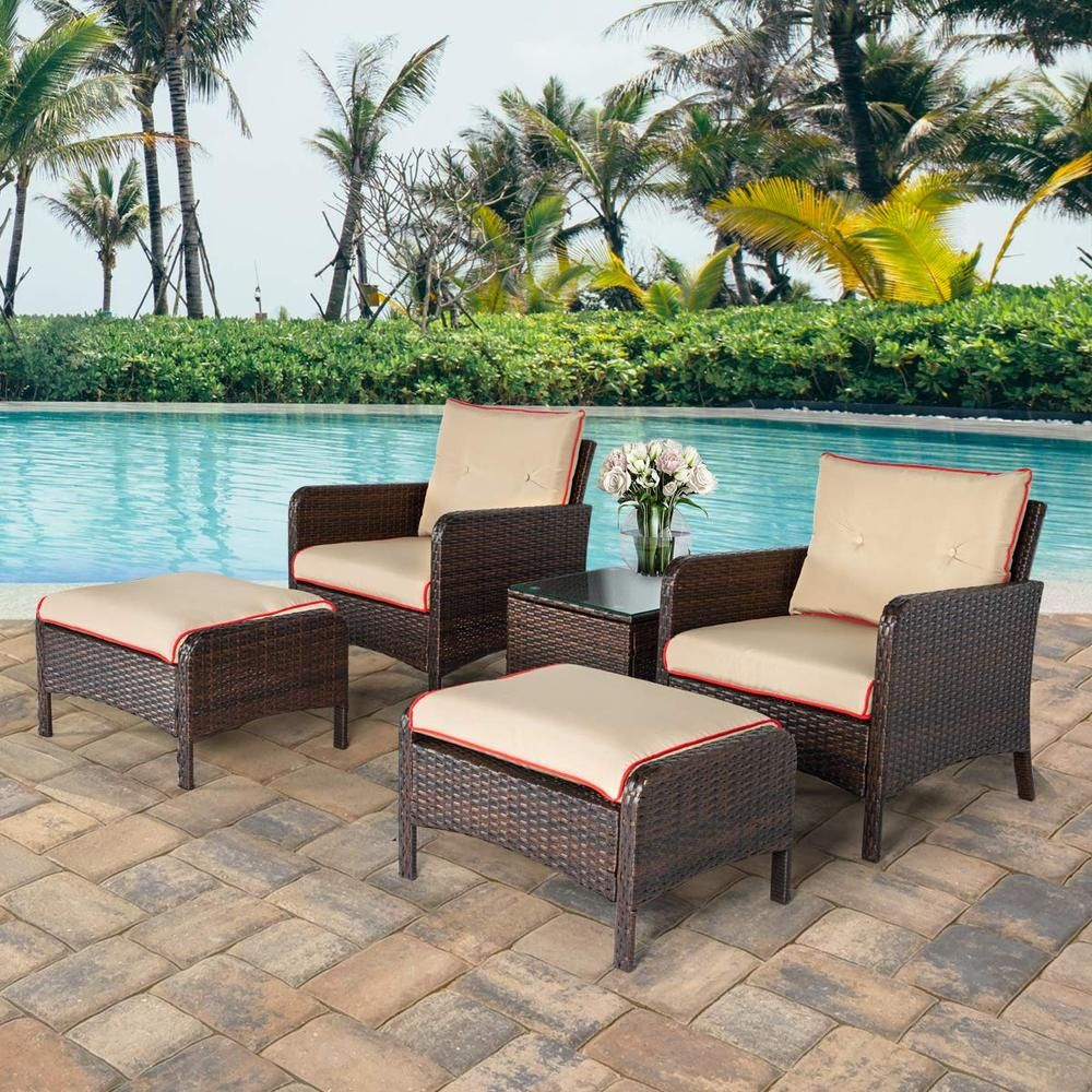 5 Pcs Patio Furniture Set Outdoor Chair And Ottoman Set With Cushions Side Table Pe Wicker Rattan In 2020 Comfortable Outdoor Furniture Patio Furniture Sets Outdoor Furniture Sets