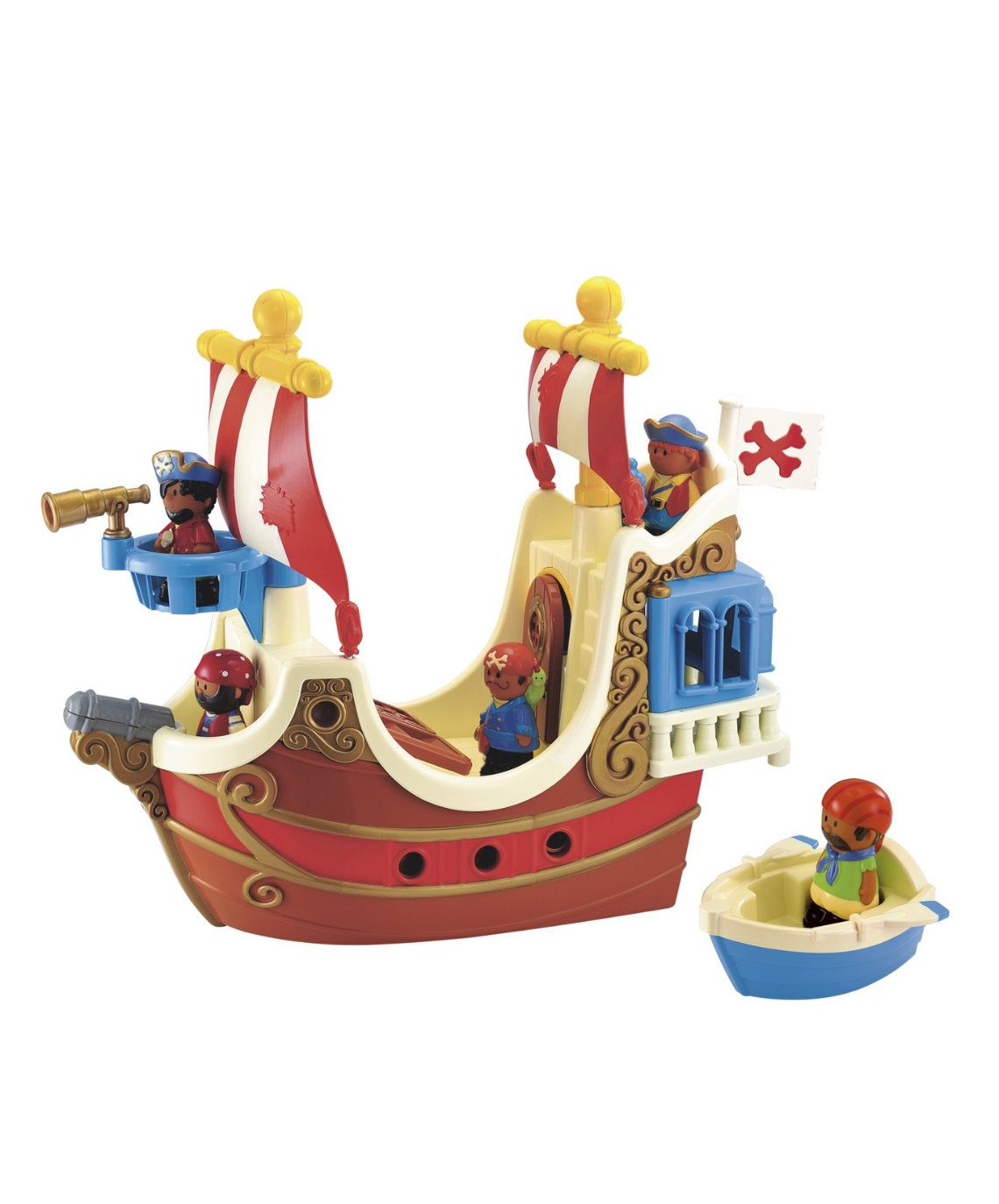 ELC HAPPYLAND PIRATE SHIP AND PIRATE CAVE SET WITH FIGURES