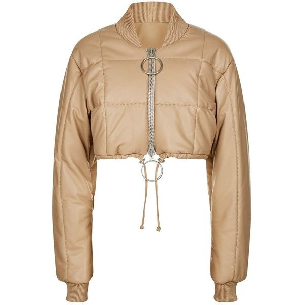 1b0a0d645ec9 Off-White Cropped Puffer Jacket ($1,870) ❤ liked on Polyvore featuring  outerwear, jackets, drawstring jacket, puffer jacket, oversized leather  jacket, off ...