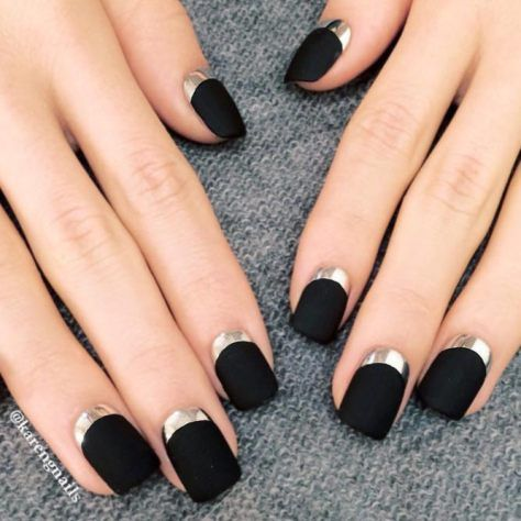 blacknailscoolideasshortsquarematt  black nail