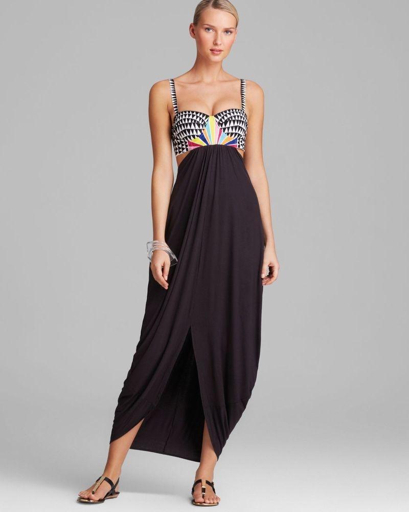 Mara Hoffman Black Cosmic Fountain Embroidered Dress X-small Nwt dresses  maxi #MaraHoffman #
