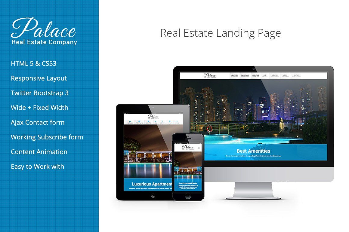 Palace Real Estate Landing Page iconsAwesomeGlyphicons