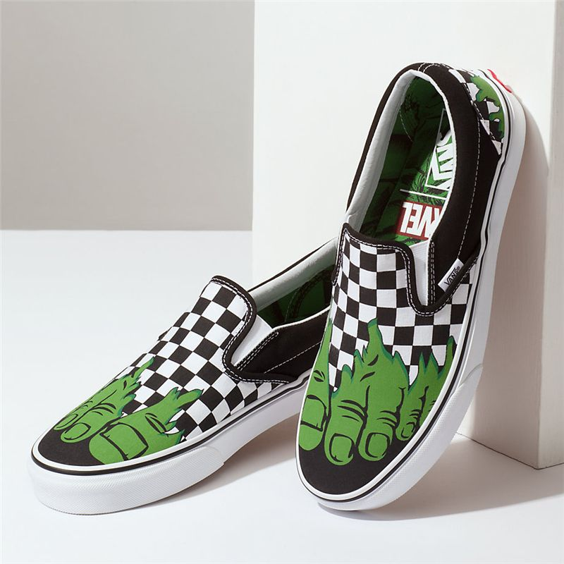 Green Ska Vans Feet Foot Slip Hulk Pattern Classic On In VUpzMGSq