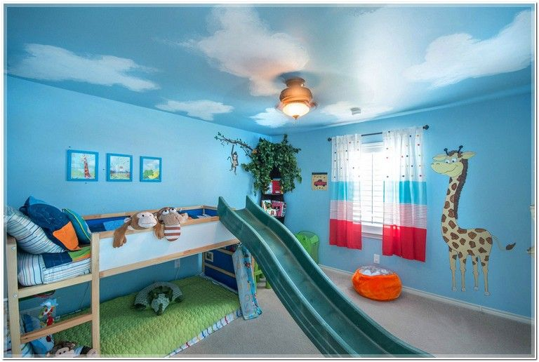 Cool Blue Shared Kids Room Idea With Cute Animal Painting And Toys Also Wooden Bunk Bed Fun Slide Lovely Bedroom Design Ideas For Your