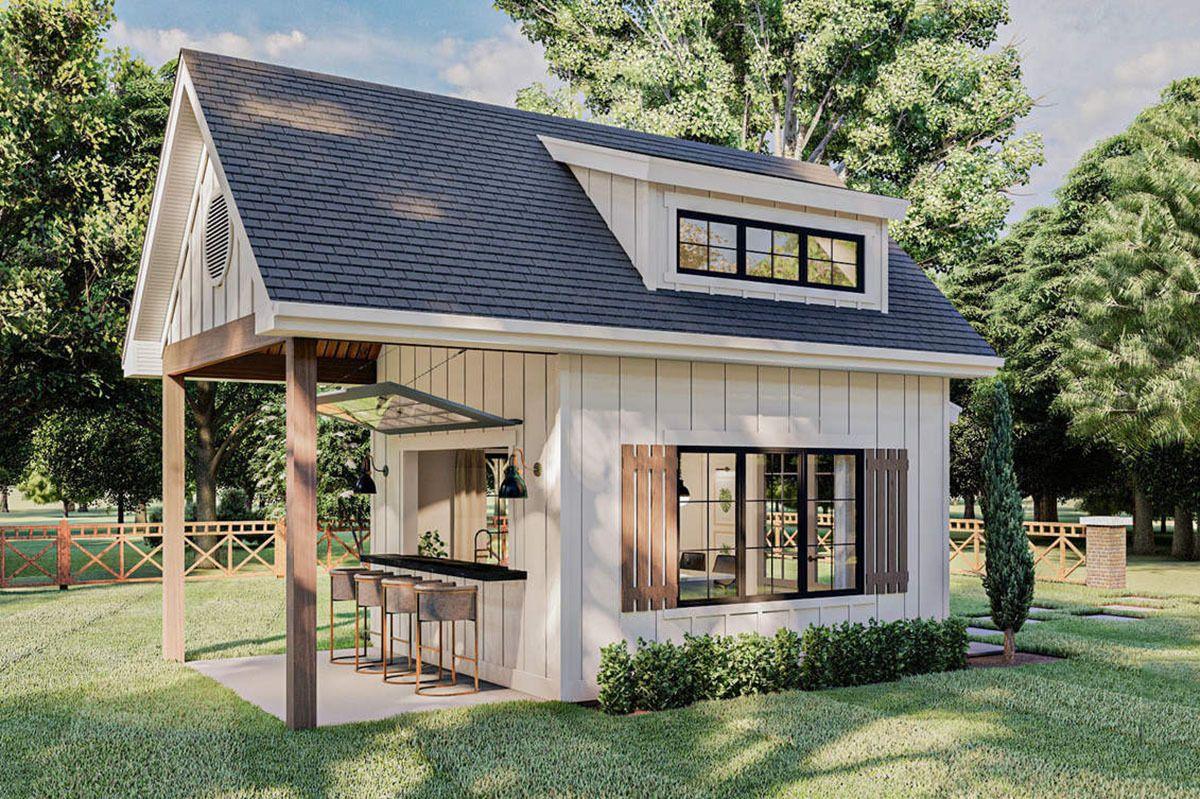 Plan 62925dj Modern Farmhouse Backyard Office Plan With Loft In 2021 Backyard House Backyard Cottage Modern Farmhouse Backyard Modern farmhouse backyard office plan with loft