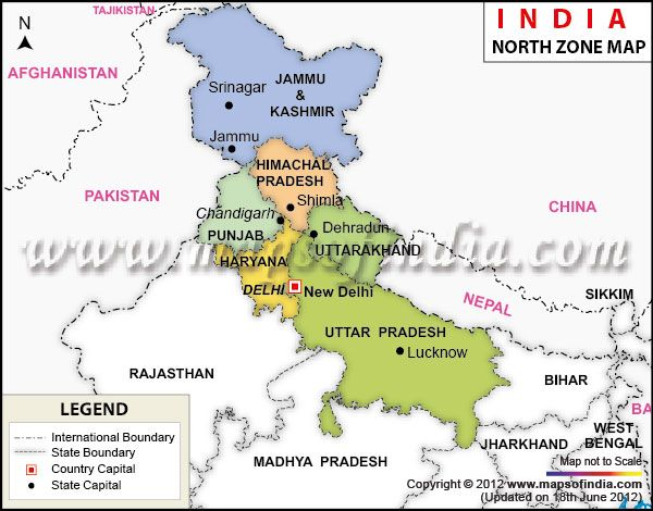 map of northern india North India Map North Zone Map Of India India Map North India map of northern india