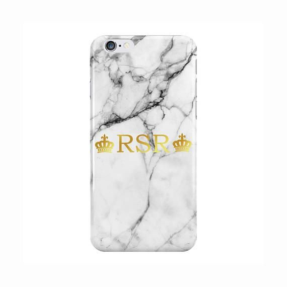 White Marble Gold Initials with Crowns Case  63065f56f