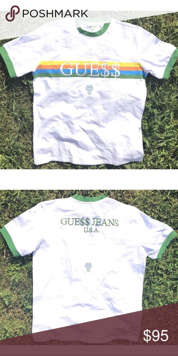 GUESS ORIGINALS X ASAP ROCKY GREEN RINGER T SHIRT! GUESS