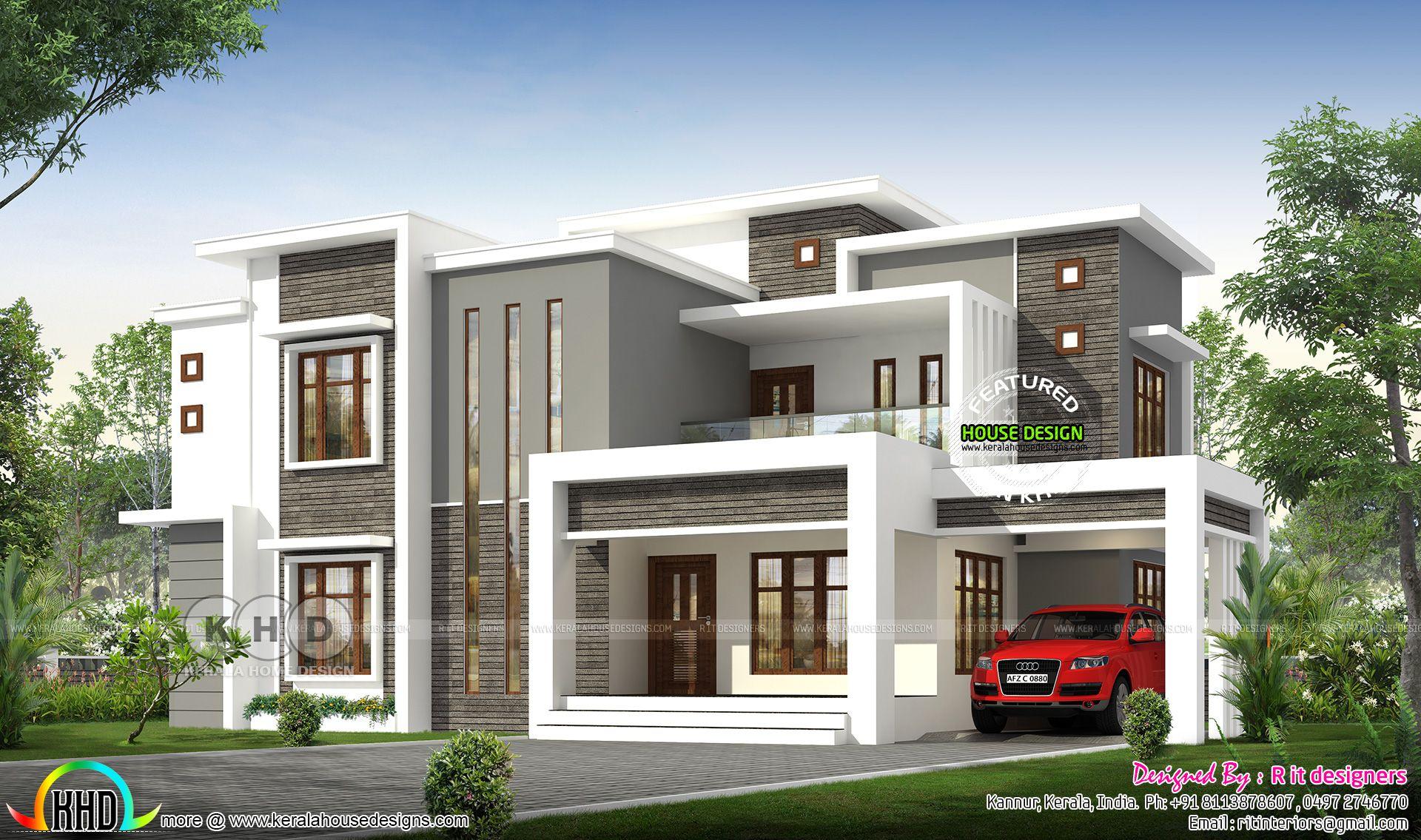 2496 Sq Ft Flat Roof Modern Contemporary Kerala House Kerala House Design Contemporary House Plans Duplex House Design