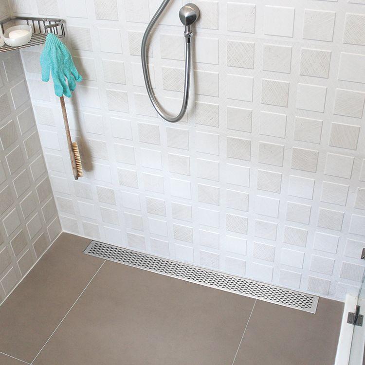 Delmar Series Delta Line Linear Drain 58 X 3 3 8 Linear Drain Mold In Bathroom Shower Floor