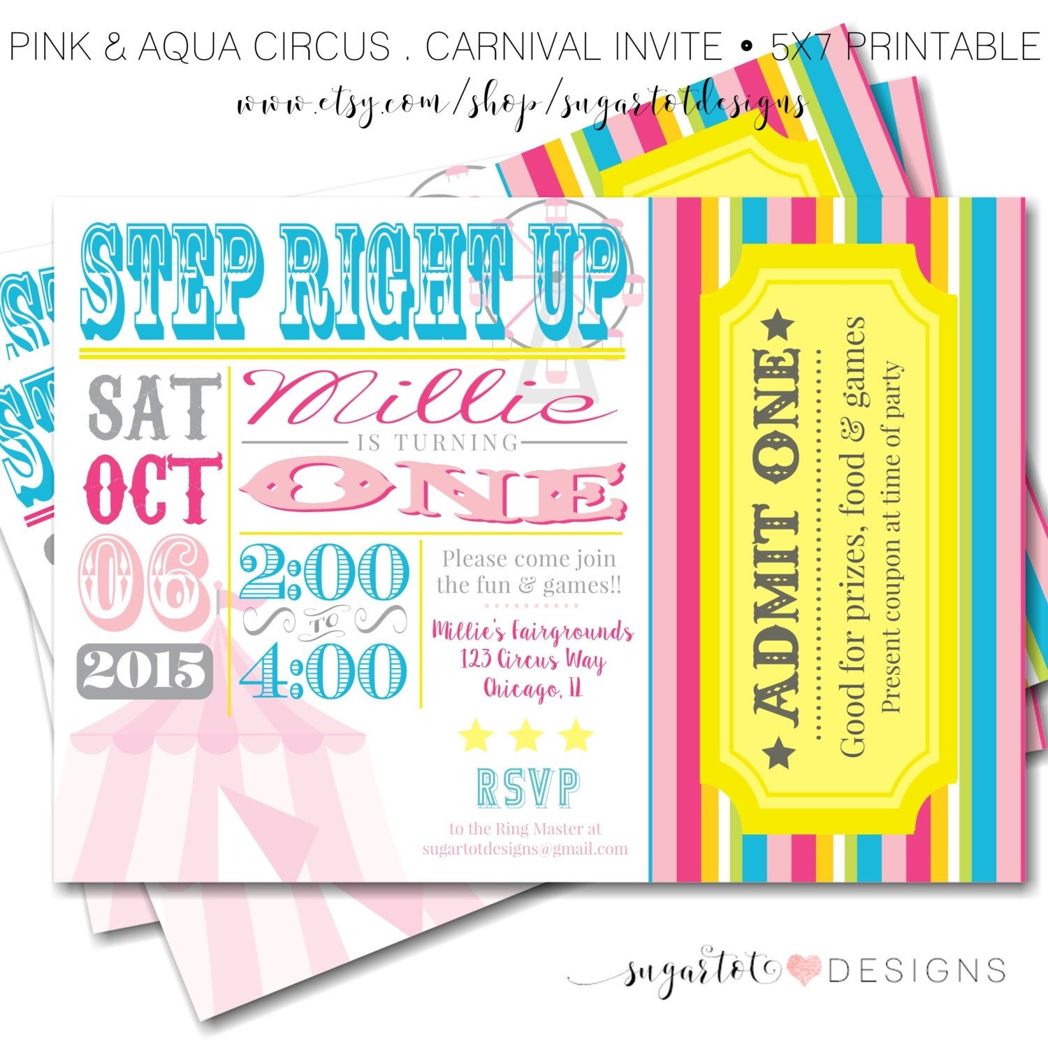 Carnival Circus Birthday Party Invitation Vintage Carnival Theme