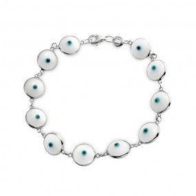 Bling Jewelry Evil Eye Link White Gl Sterling Silver Bracelet 7 Inch
