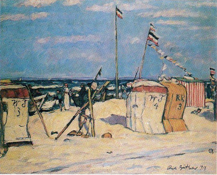 Erich Büttner - Der Strand bei Heringsdorf, Öl auf Leinwand; Altoner Museum 1915 (The Beach of Heringsdorf, Germany)