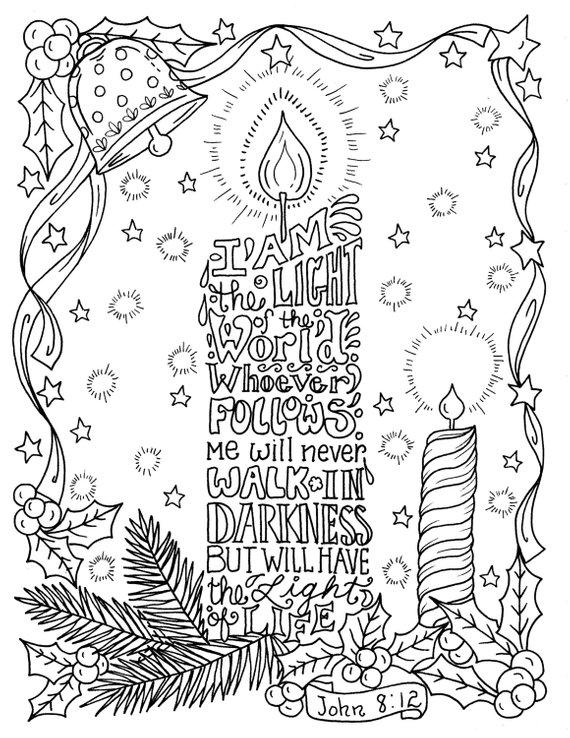 Instant Download Christmas Scripture Candle Coloring Page 8 5 X 11 You Will Be Able To Instantly Dow Christian Coloring Bible Coloring Pages Scripture Coloring