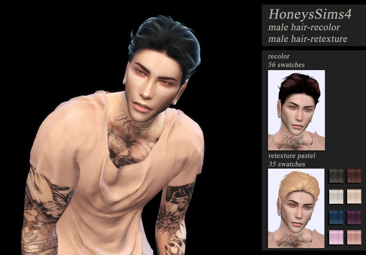 Jenn Honeys Sims 4 — male hair recolor = 56 swatches male ...