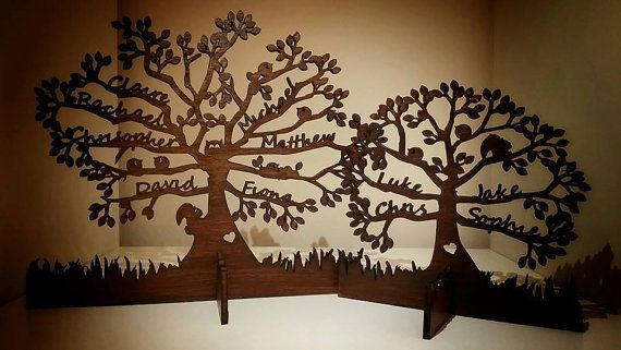 Freestanding Bespoke Wooden Family Tree by PersonalisedPartyCo